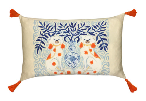 Silk Painted Rectangle Pillow | Staffordshire Dogs Chinoiserie