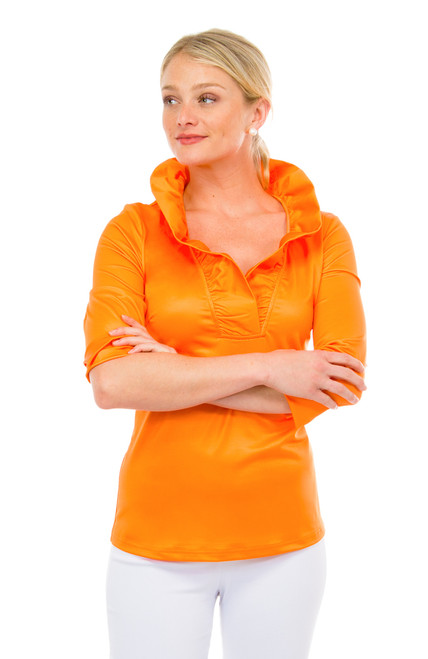 Gretchen Scott Ruffneck Jersey Top- 3/4 Sleeve- Orange