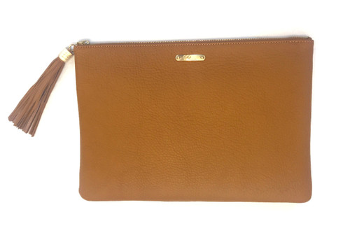 Uber Clutch with Slip Pocket | Pebbled Leather | Tan