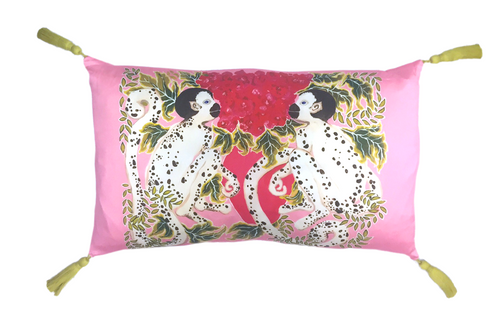 Silk Painted Rectangle Pillow | Monkeys with Roses