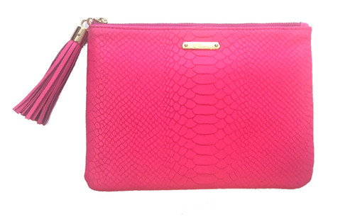 All In One Bag | Embossed Python | Hot Pink