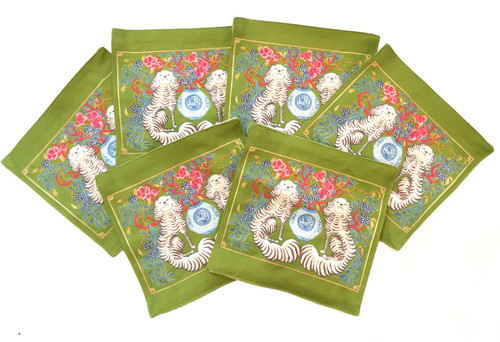 Paige Gemmel | Staffordshire Dogs on Green | Coasters | Set of 6
