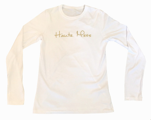 Haute Mess Fitted Long Sleeve Tee    White and Metallic Gold