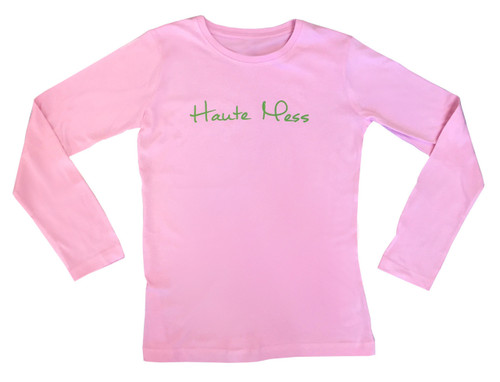 Haute Mess Classic Long Sleeve Tee |  Pink and Green (Preppy with a Twist)