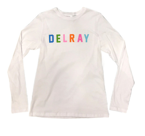 Delray Beach Color Block Long Sleeve Fitted Tee