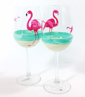 Flamingo Beach Large Wine Glasses (set of 4)