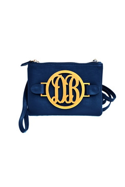 Navy Clutch / 2 Letter Script Font / Antique Gold Monogram Color