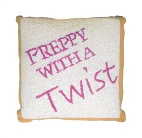 Preppy With A Twist Pillow Orange