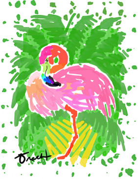 Flamingo Palms Print