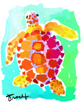 Pink and Orange Turtle Print