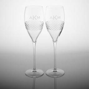 3 Letter Block Monogram Diamond Cut Glass Flutes - Set of Two