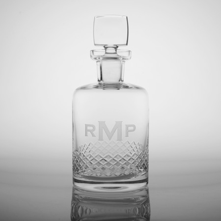3 Letter Block Monogram Diamond Cut Whiskey Decanter