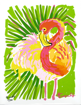 Cabbage Palm Flamingo Print