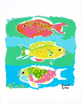 Parrot Fish Pink and Green Print