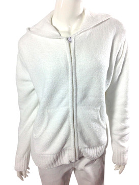 Long Sleeve Chenille Zip Jacket with Hood in White