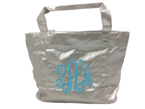 Silver Monogram Tote Bag