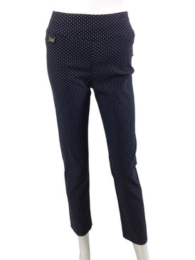 Lisette Ankle Navy with White Dots Magic Pant