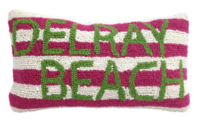 Delray Beach Pink White Stripe Pillow