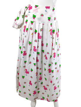 Long Party Wrap Skirt Snappy Flamingos - One Size Fits All