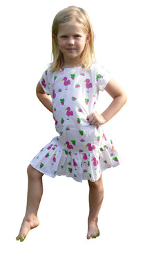 Childs Ruffle Dress Snappy Flamingos - Originally $54