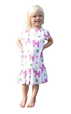 Childs Ruffle Dress Snappy Cats - Originally $54