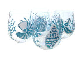 Aqua Shells Stemless Wine Glasses (set of 4)