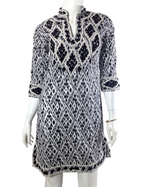 Gretchen Scott Dori Ikat Tunic Dress Black/White