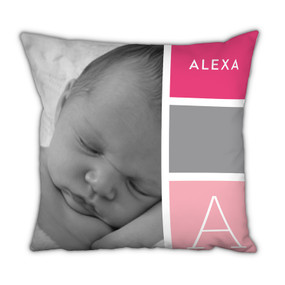 Pink Blocks Pillow With Picture