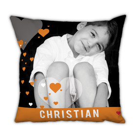 Orange Banner with Hearts Pillow With Picture