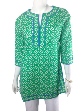 Gretchen Scott Pinwheels Green/Blue Split Neck Tunic