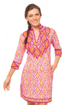 Gretchen Scott Dori Ikat Tunic Dress Orange/Pink