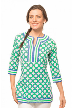 Gretchen Scott Lifesaver Blue/Green Split Neck Tunic