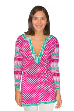Gretchen Scott Mixed Message Tunic Pink/Turq