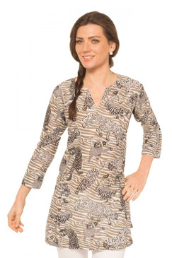 Gretchen Scott Tiger Tails Tunic Beige/Black