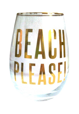 Beach Please! 18oz Stemless Wine Glass
