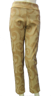 Krazy Larry Pull On Beige Swirls Ankle Pants