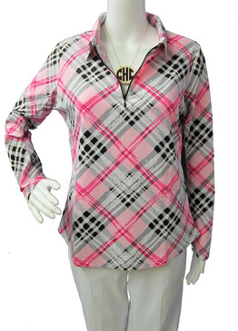 Icikuls Long Sleeve Cooling Mock Neck Top Pink/Black Plaid