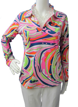 Icikuls Long Sleeve Cooling Mock Neck Top Pink/Navy Swirls