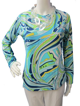 Icikuls Long Sleeve Cooling Crew Neck Top Blue/Green Swirls