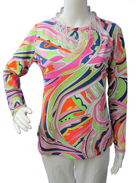 Icikuls Long Sleeve Cooling Crew Neck Top Pink/Green Swirls