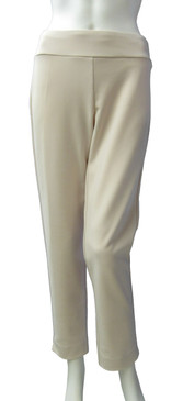 Krazy Larry Hollywood Fabric Dressy Creme Pull On Ankle Pant