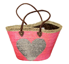 Pink Sequin Heart Large Tote