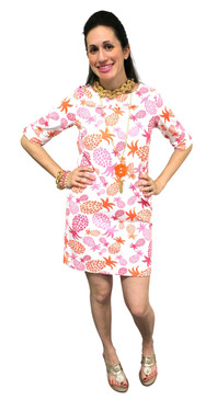 Yacht Club Shift Dress Orange/Pink Pineapples