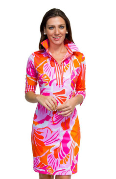Gretchen Scott Everywhere Jersey Dress | Frond Frenzy Pink & Orange