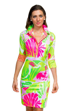 Gretchen Scott Everywhere Jersey Dress | Frond Frenzy Pink & Green
