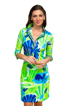 Gretchen Scott Everywhere Jersey Dress | Frond Frenzy Blue & Green
