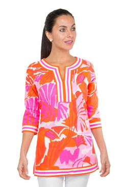 Gretchen Scott Split Neck Tunic | Frond Frenzy Pink & Orange