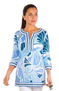 Gretchen Scott Split Neck Tunic | Frond Frenzy Blues