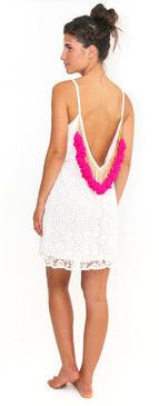 Lana Short Dress White with Hot Pink Tassels