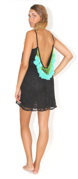 Lana Short Dress Black with Aqua Tassels